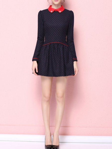 Dark Blue Printed/Dyed Long Sleeve A-line Polyester Mini Dress