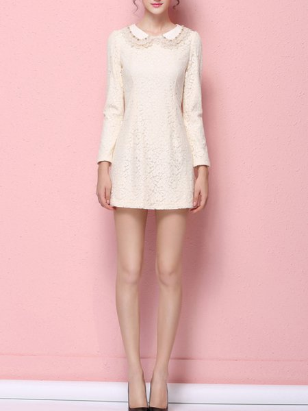 Apricot Long Sleeve Beaded Sheath Lace Mini Dress