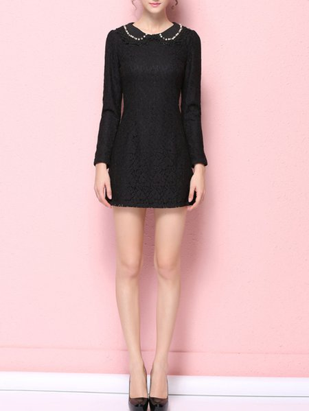 Black Long Sleeve Peter Pan Collar Sheath Mini Dress