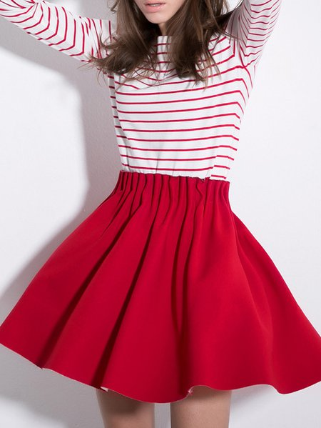 Red Pleated Mini Skirt 9