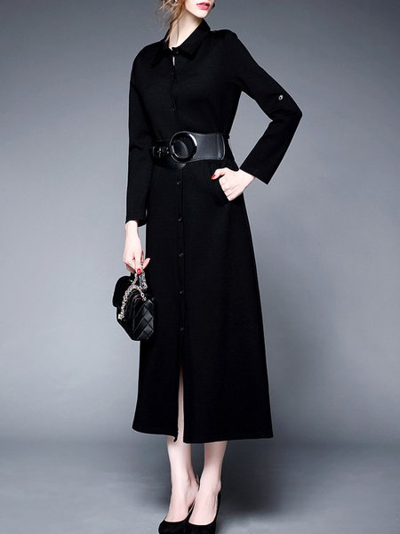 Black A-line Cotton-blend Slit Long Sleeve Midi Dress