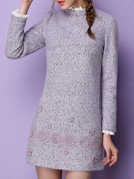 H-line Embroidery Long Sleeve Girly Mini Dress