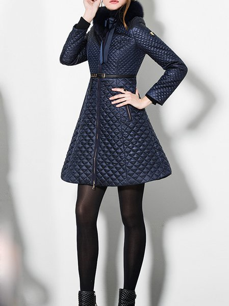 Blue Plain Long Sleeve Polyester Pockets Coat