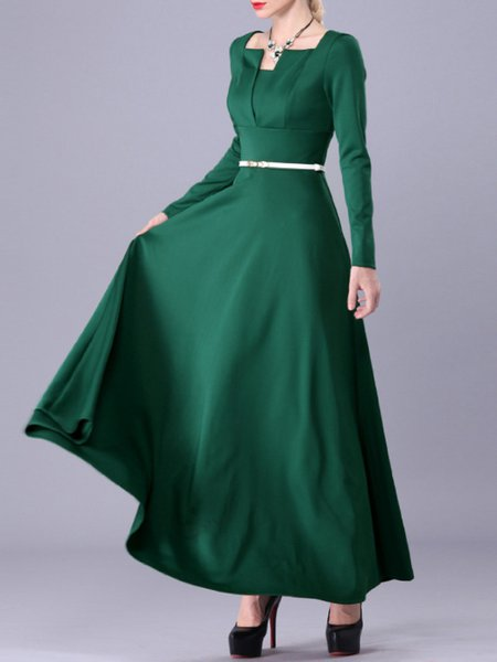 Green Paneled A-line Half Sleeve Square Neck Maxi Dress