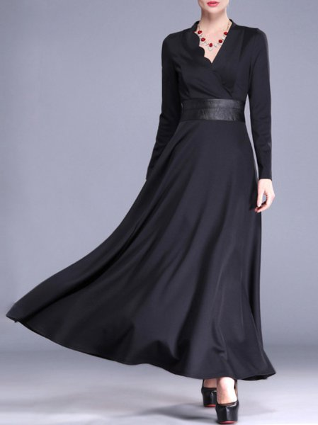Black Long Sleeve Polyester A-line Paneled Maxi Dress