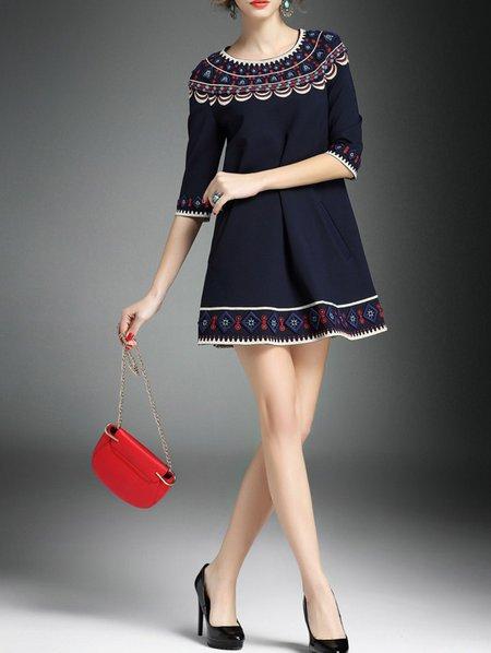 Purplish Blue A-line Floral Half Sleeve Mini Dress