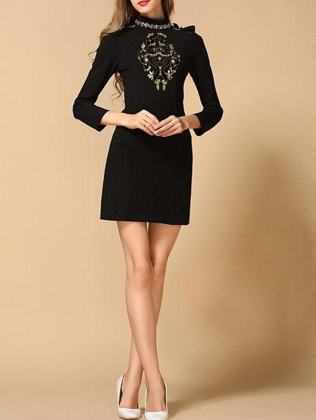 Black Cotton A-line Long Sleeve Beaded Mini Dress
