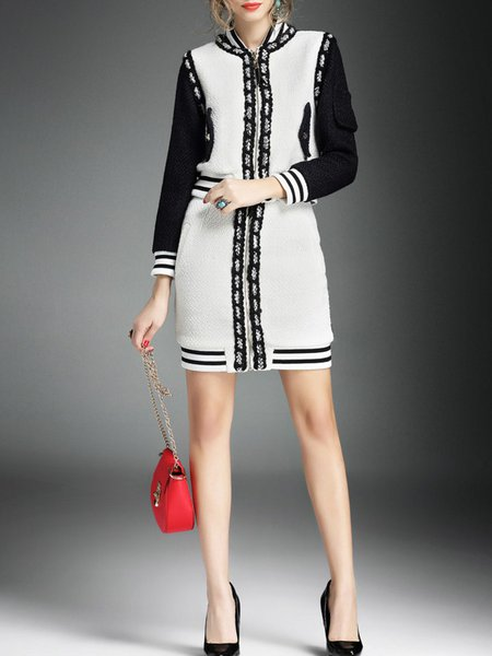 White Polyester Casual Color-block Two Piece Mini Dress