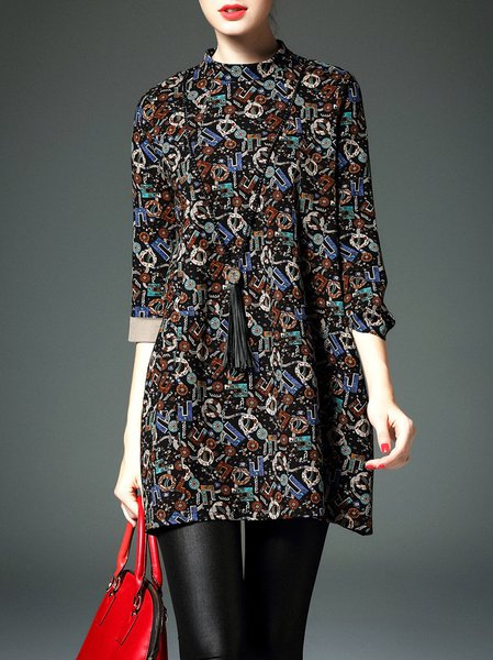 Multicolor Letter Print 3/4 Sleeve Turtleneck Mini Dress