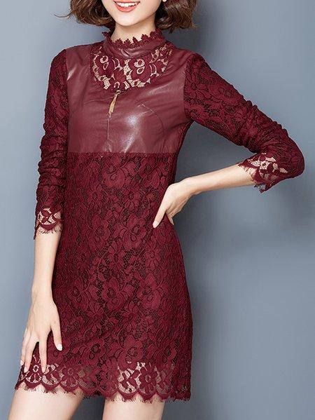 Red Pierced 3/4 Sleeve Plain Cotton Mini Dress