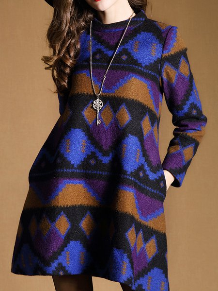 Blue Long Sleeve Geometric Printed Mini Dress