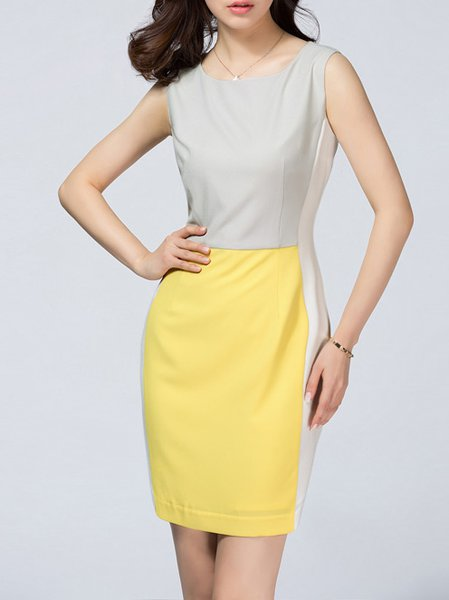 Yellow Paneled Sleeveless Mini Dress