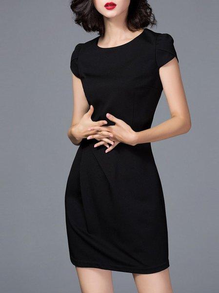 Short Sleeve Crew Neck Simple Mini Dress