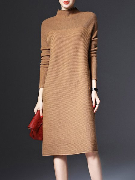 Brown Long Sleeve Cashmere Sweater Dress