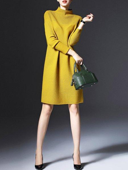 Yellow Long Sleeve Plain Sweater Dress