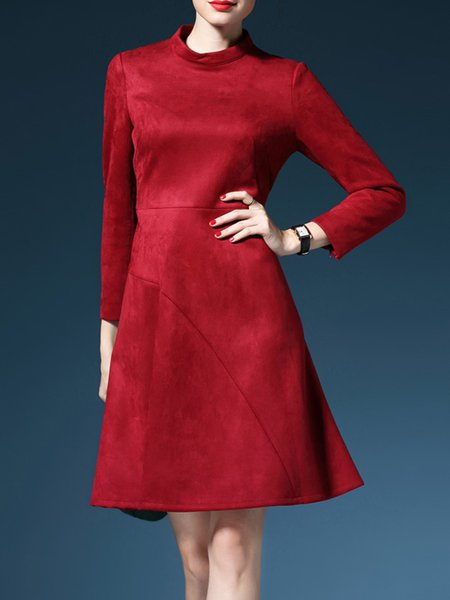 Red Turtleneck Long Sleeve Mini Dress