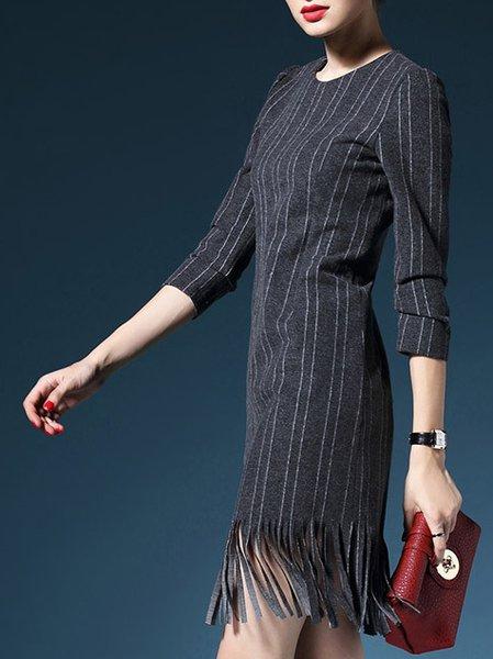 Fringed Long Sleeve Stripes H-line Vintage Midi Dress