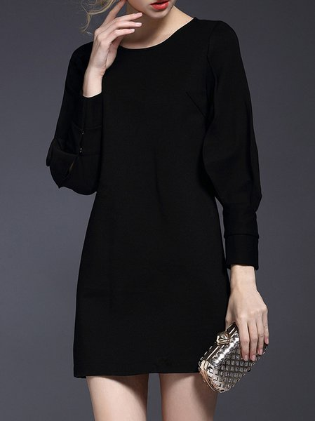 Black Shift Paneled Balloon Sleeve Crew Neck Mini Dress