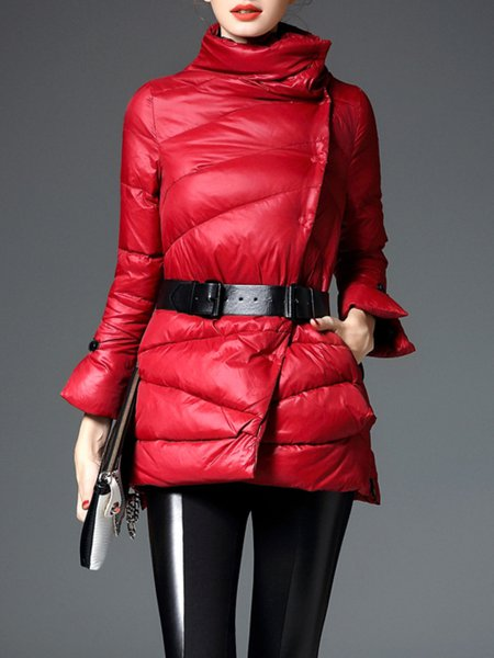 Red Polyester H-line Zipper Long Sleeve Down Coat