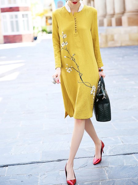 Yellow Printed Long Sleeve Midi Dress