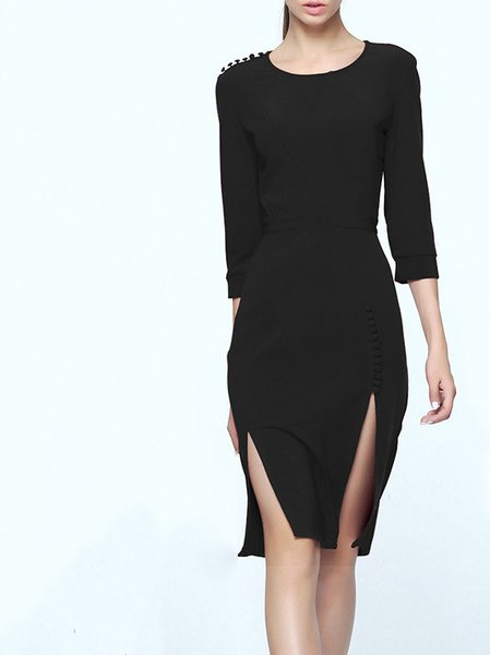 Black Polyester A-line 3/4 Sleeve Midi Dress