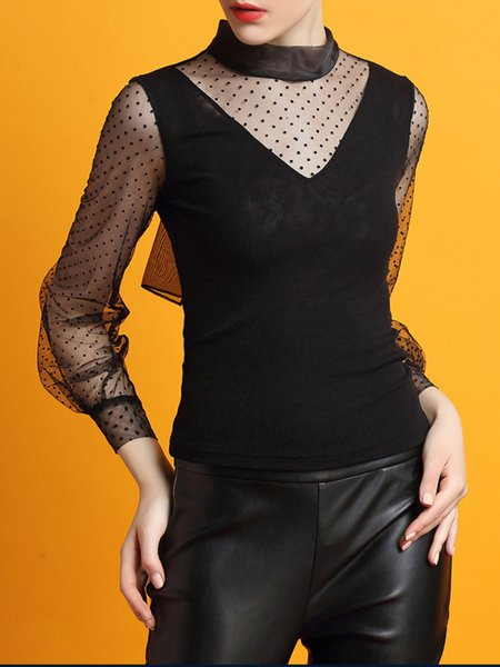 Black Paneled Long Sleeve Polyester Blouse