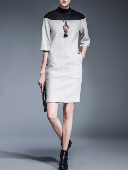 Gray Paneled Knitted Half Sleeve Sweater Dress