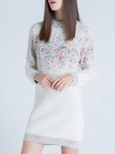 Wool Blend Long Sleeve Casual H-line Sweater Dress