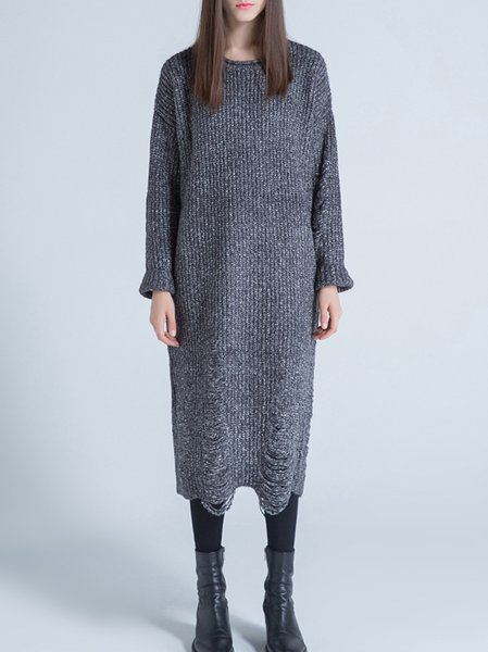 Gray Casual Wool Blend Crew Neck Sweater Dress