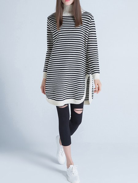 Beige Long Sleeve Turtleneck Stripes Sweater