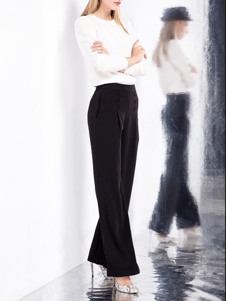 Black Buttoned Wide Leg Pants