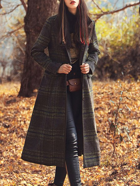 Wool Blend Checkered/Plaid Vintage Long Sleeve Coat