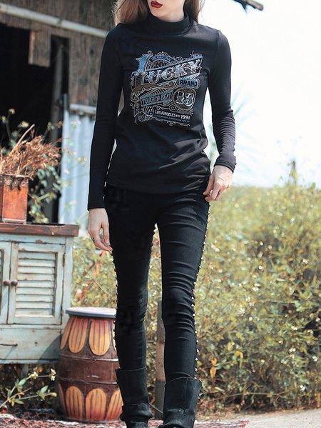 Black Vintage Plain Skinny Leg Pants