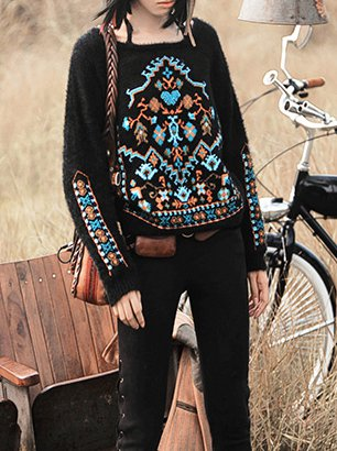 Long Sleeve Vintage Embroidered Knitted Abstract Sweater