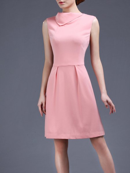 Pink Plain Sleeveless A-line Mini Dress