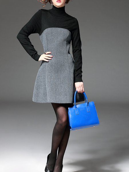 Turtleneck Long Sleeve Casual Paneled Plain Mini Dress