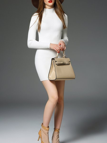White Paneled Long Sleeve Plain Mini Dress