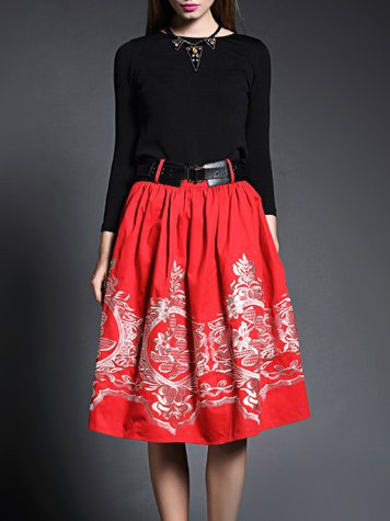 Red Casual Cotton-blend Crew Neck Midi Dress