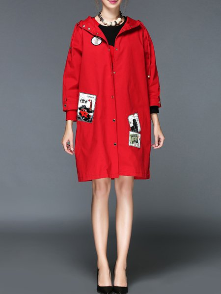 Red Long Sleeve Cotton-blend Paneled Coat
