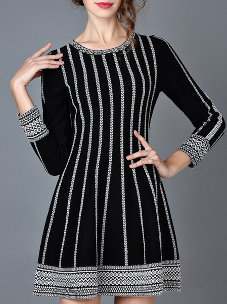 White Cotton-blend Long Sleeve Knitted Sweater Dress