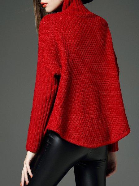Red Turtleneck Plain Long Sleeve Sweater - StyleWe.com