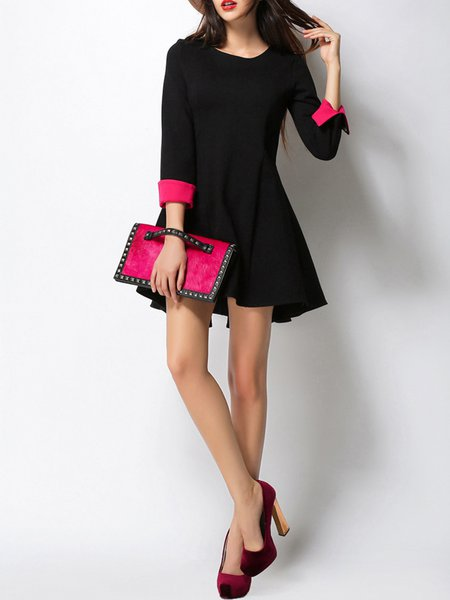 Black 3/4 Sleeve Cotton-blend Color-block A-line Mini Dress