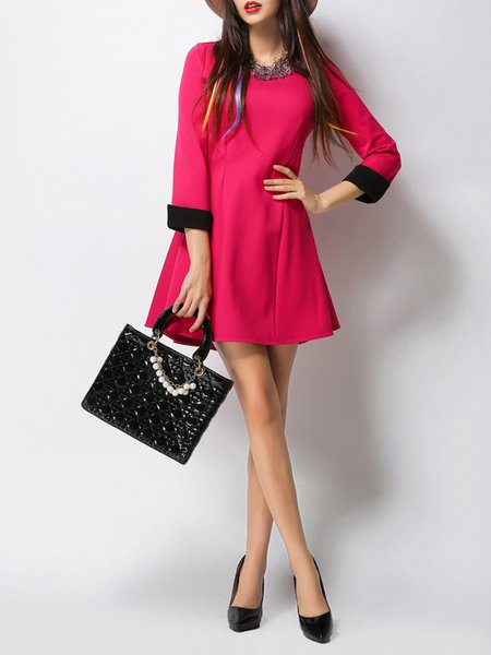 Fuchsia 3/4 Sleeve A-line Mini Dress