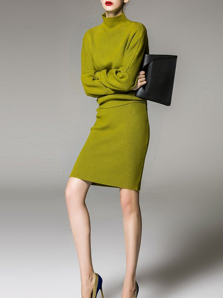 Green Wool Blend Elegant Turtleneck Two Piece Sweater Dress