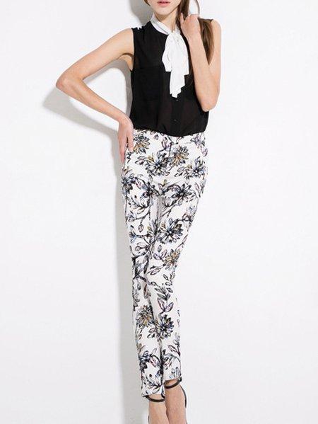 White Floral Skinny Leg Pants