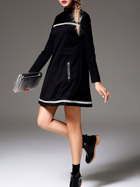 Black Long Sleeve Cotton-blend Paneled Mini Dress