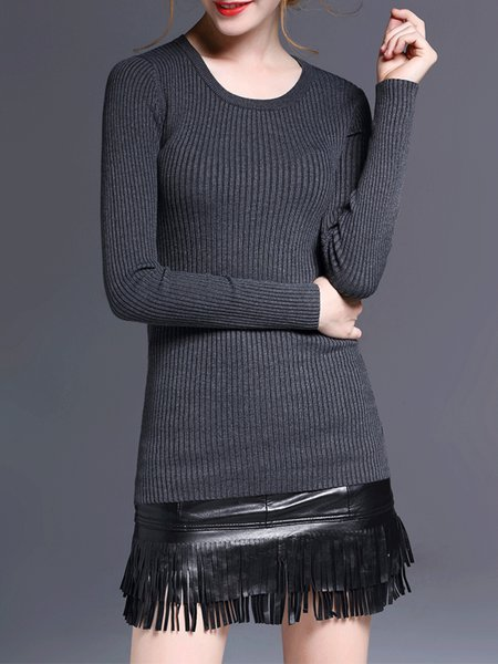 Gray Long Sleeve Knitted Wool Blend Sweater
