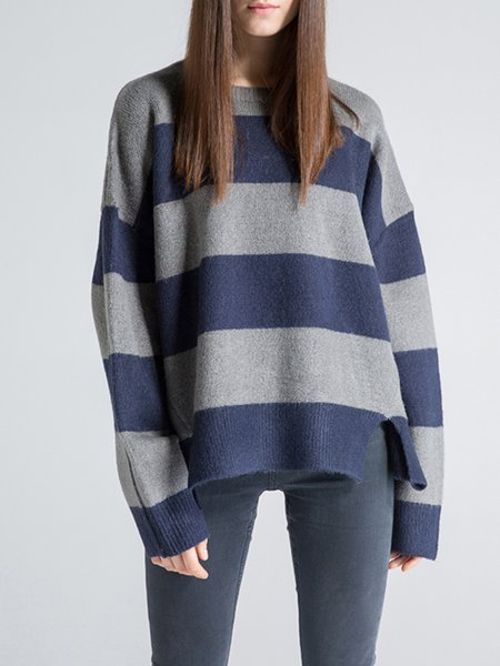 Gray Shift Long Sleeve Stripes Sweater