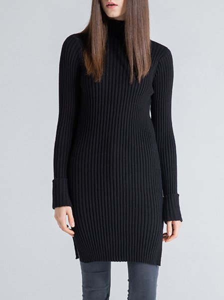 Black Long Sleeve Wool Blend Turtleneck Sweater