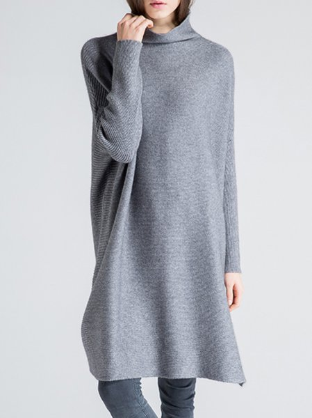 Gray Knitted Long Sleeve Turtleneck Sweater
